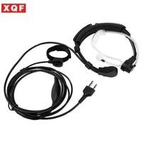 XQF Throat Mic Microphone Finger PTT Headset Earpiece for Midland LXT210 Ham Radio Hf Transceiver Walkie Talkie