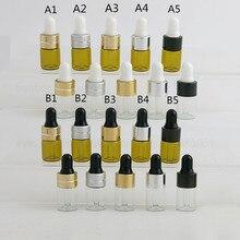 цена на 100 X Mini 3ML Travel Amber Clear Glass Dropper Bottles With Black Gold Aluminum Cap Essential Oil e liquid Sample Bottle