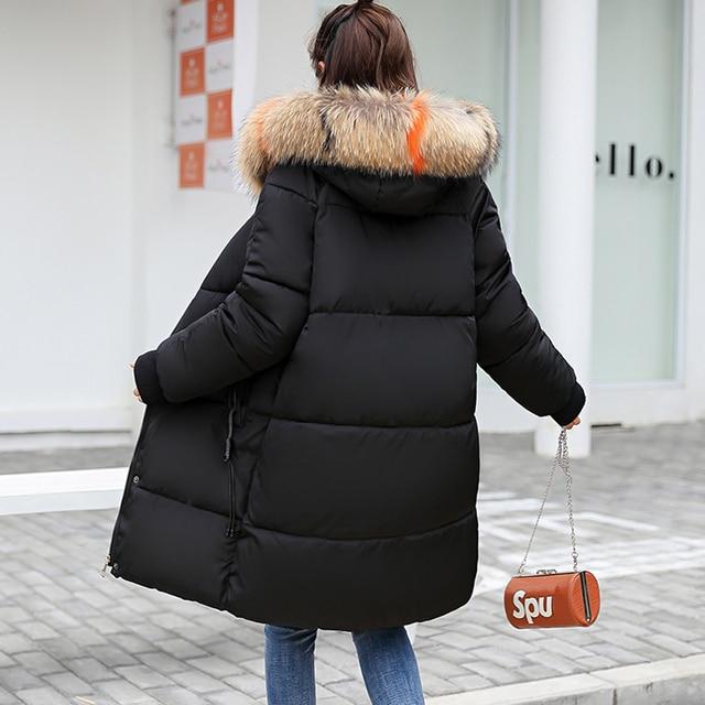2018 Com Capuz de pele Parka casaco feminino Casaco jaqueta feminina plus size mulheres jaqueta de inverno Casuais Para Baixo Parkas de Algodão Acolchoado Longo