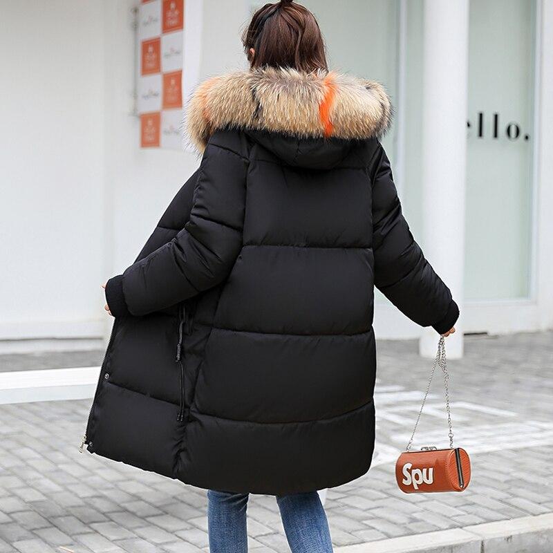 2018 piel con capucha Parka casaco feminino chaqueta femenina abrigo talla grande chaqueta de invierno mujer Casual abajo algodón largo acolchado Parkas