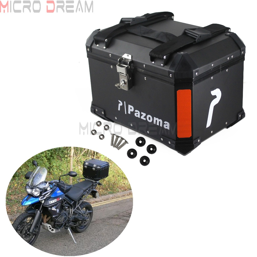 45L Top Case Motorcycles Aluminum Luggage Tail Box Topcase Watreproof Storage For Honda Yamaha Suzuki Triumph