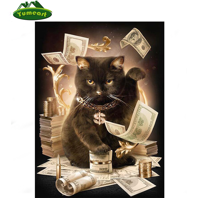 Cat With Cash Pattern Diamond Embroidery DIY Needlework 5D Diamond Painting Cross Stitch Full Drill Rhinestones Painting