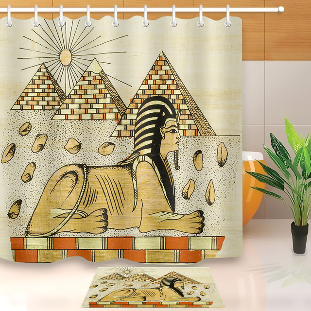 LB Pyramid Khufu Sphinx Ancient Egyptian Drawing Stall Shower Curtain With Mat Set Bathroom Waterproof Fabric