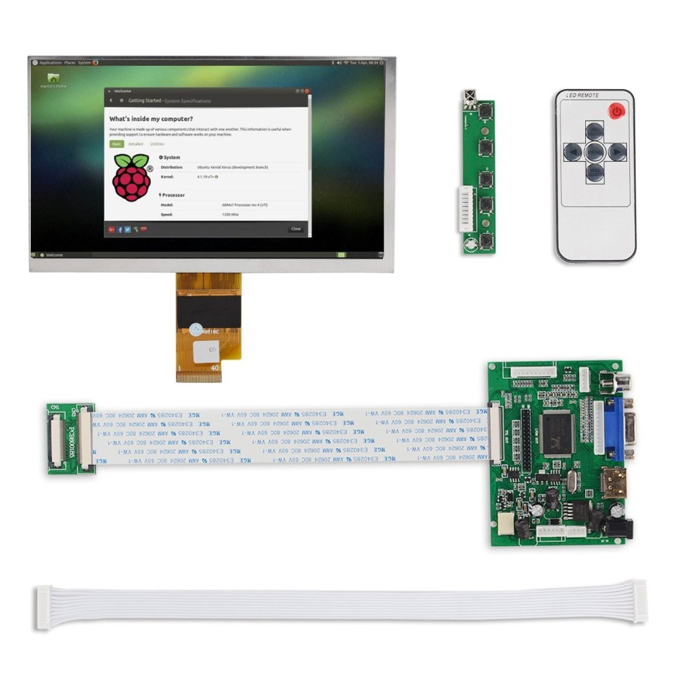 цена 7 inch HD LCD Display Screen High Resolution Monitor Remote Driver Control Board 2AV HDMI VGA