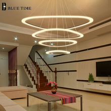 цены 4 Rings Acrylic Modern LED Chandeliers For Living Room Bedroom Dining Room 88 64 43 25cm Chandelier Ceiling lamp Home Lighting.