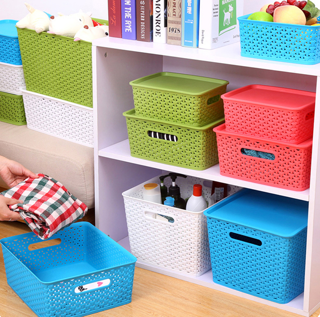 Woven Shape Hollow Plastic Makeup Box Clothing Storage Basket Clothes Toy Organizer With Cover Lid