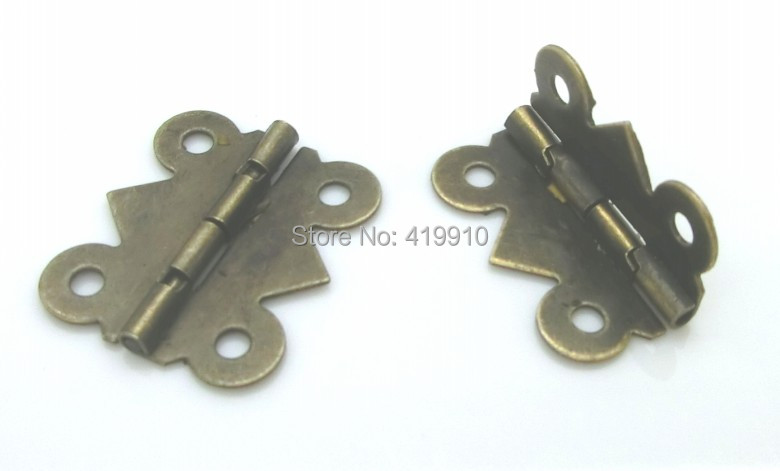 Free Shipping-50pcs Antique Bronze 4 Holes Door Butt Hinges 20x24mm,Wide Size:19mm-20mm J1245 free shipping 20pcs antique bronze hardware 4 holes diy box butt door hinges not including screws 29x27mm j3018
