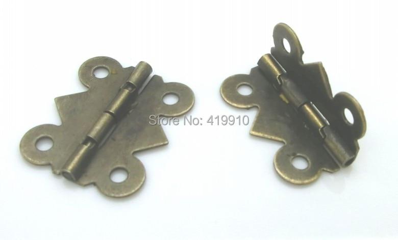 Free Shipping-50pcs Antique Bronze 4 Holes Door Butt Hinges 20x24mm,Wide Size:19mm-20mm J1245 10pcs mini iron butterfly hinges cabinet drawer door butt hinge