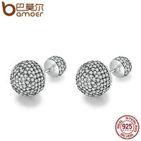 BAMOER Authentic 925 Sterling Silver Classic Pave Drops Clear CZ Round Stud Earrings For Women Jewelry