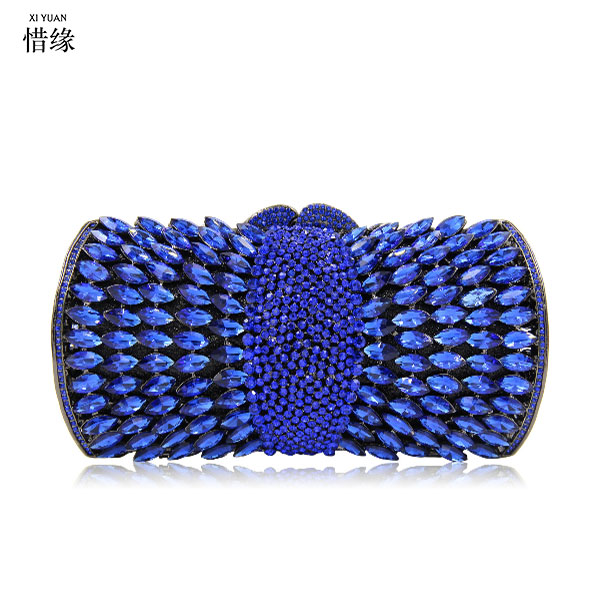 цена на XIYUAN BRANd Gold Crystal clutch purse Women Diamond blue Evening Clutch Bags Wedding Party Prom red Handbag silver day Clutches