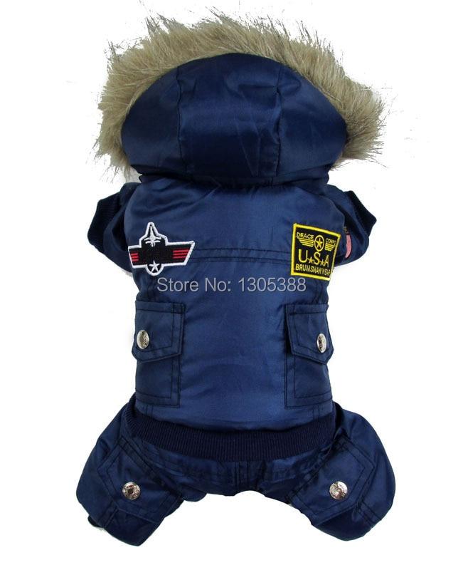 الأزرق usa الطيار نمط الكلاب معطف دافئ كلب صغير الملابس الصوف معطف الشتاء snowsuit مقنع بذلة للماء