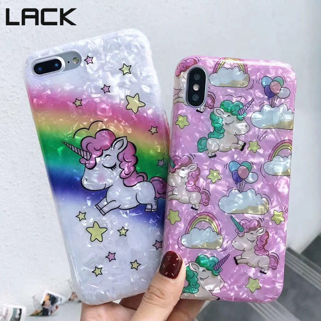 LACK Fashion Colorful Unicorn Conch Shell Soft IMD Phone Case For iphone X  7 6 6S 8 Plus Cute Cartoon Candy Color Back Cover HOT bebb61c5f090