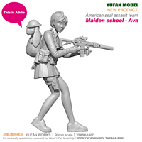 90mm American Outfit Girl Ava and Addie Female Soldier YFWW 1807