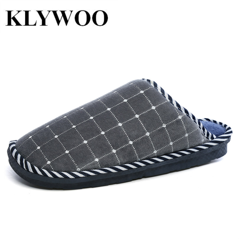 KLYWOO Big Size 45 Winter Home Men Slippers Soft Plaid Casual Comfortable Super Warm Fur Slippers for Men Bedroom Indoor Shoes men winter soft slippers plush male home shoes indoor man warm slippers shoes