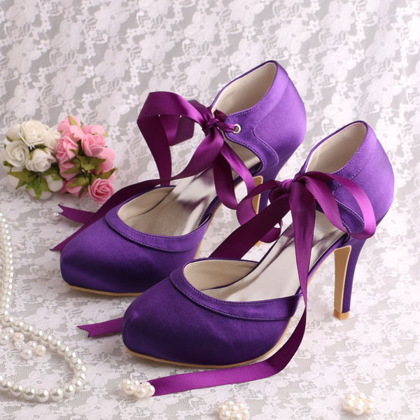 (20 Colors)Custom Handmade Round Toe Ribbon High Heel Shoes Laces Purple Satin 2014