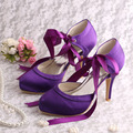 (20 Colors)Custom Handmade Round Toe Ribbon High Heel Shoes Laces Purple Satin 2014