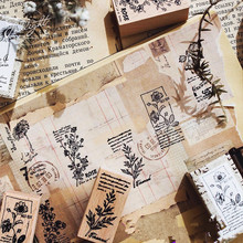 Vintage plants cute  wooden stamp DIY wooden rubber stamps for scrapbooking stationery stamp standard 25pcs set diary pattern wooden box stamp rubber lovely cute diy writing scrapbooking stamp gift clear stamps for scrapbooking