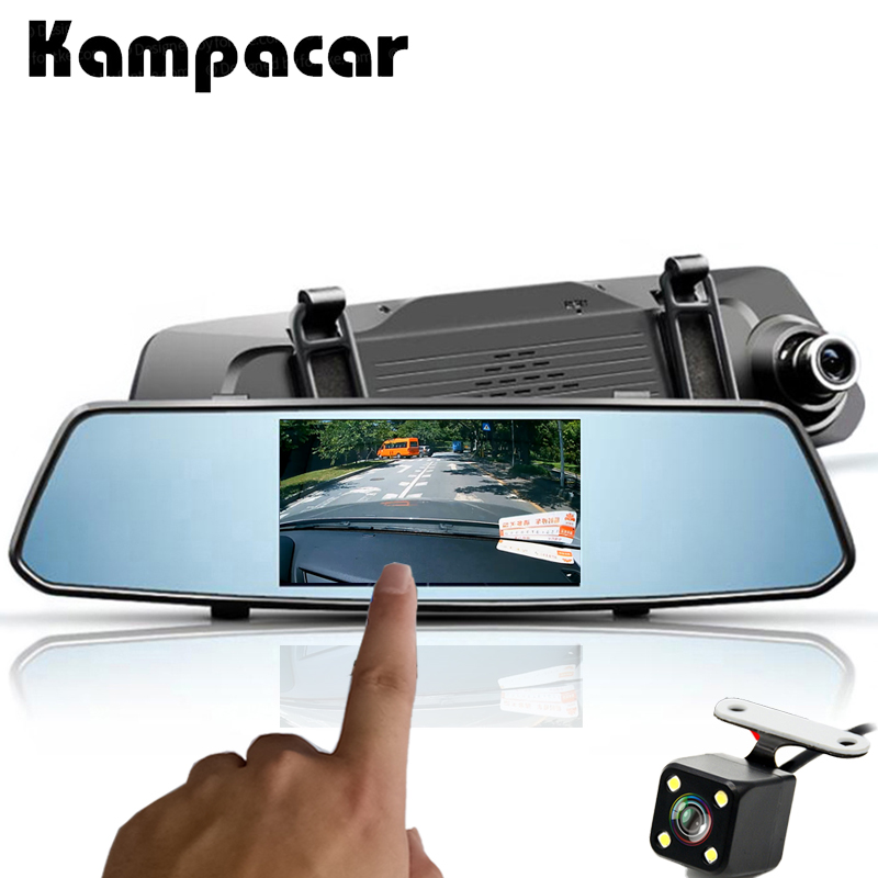 Kampacar 2 Car DVR Full HD 1080P 5 0 Inch Touch Mirror Recorder Camera Dual Lens