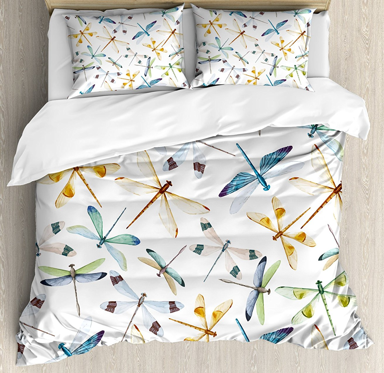 Dragonfly Duvet Cover Set Moth Butterfly Like Bugs In Watercolor Print Modern Minimalist Design Art Print 4 Piece Bedding Set Bedding Sets Aliexpress