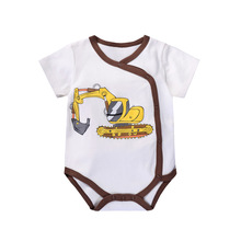 Baby Cotton Short Sleeve Triangle Rompers Boys Girls Car Print Romper Newborn 0-2M Summer Nnisex Dress