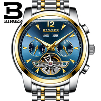 Fashion Men Mechanical Watch BINGER Top Brand Luxury Automatic Classic Skeleton Wristwatch Blue Dial Gold Two Tone Full Steel