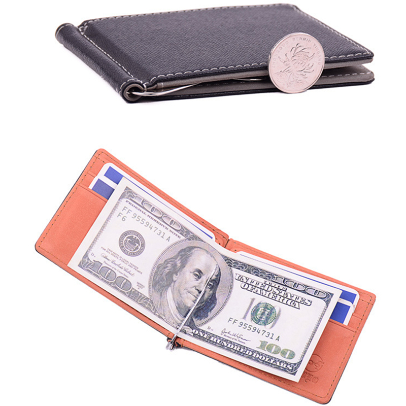 2017 Hot Sale Fashion New Men Money Clips Pu Leather Wallets ID Credit Card Purses Solid Thin Wallet For Men Money Clip