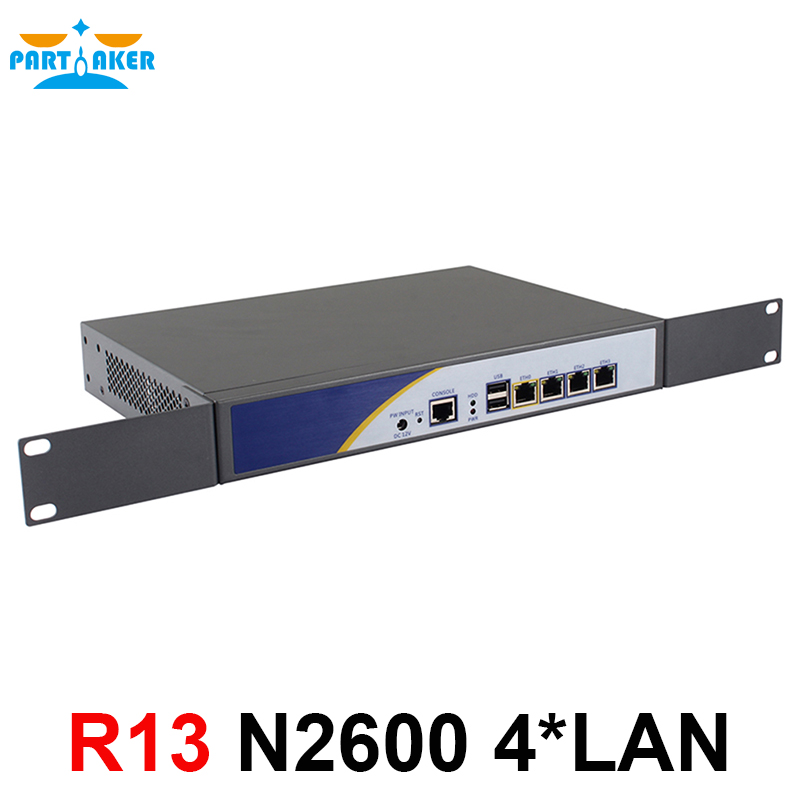 Partaker R13 Firewall Router Network Server 4*RJ45 1000M LAN With Intel N2600 Support PFSense ROS new in stock j2 q02a c