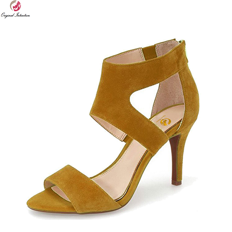 Original Intention New Fashion Women Sandals Peep Toe Thin Heels Sandals Popular Blue Green Kahki Shoes Woman Plus US Size 4-15 dark blue belted peep toe fashion booties