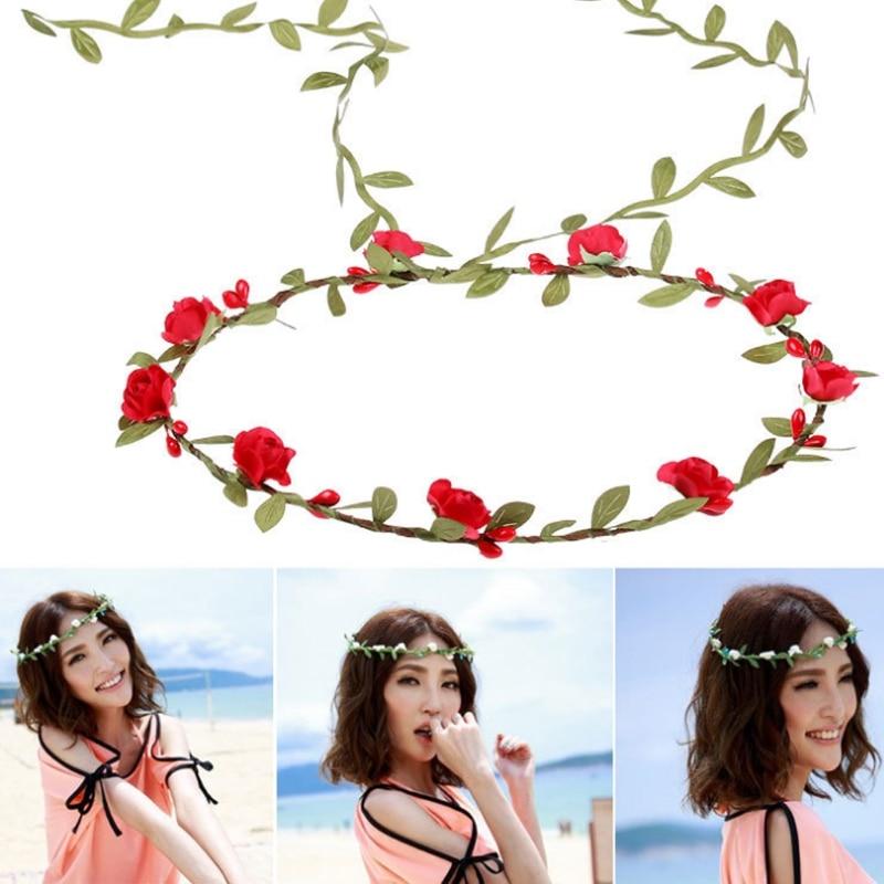 10Pcs Women Girl Bohemia Flower Crown Garlands Headband Beach Wedding Round Headbands Cloth 2017 Fashion Beauty Tool Floral