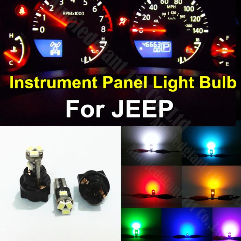 10pcs T5 Lamp Bulb Socket Instrument Cer Warning Indicator Sdometer Tachometer Dash Led Light For Jeep In Car Headlight Bulbs
