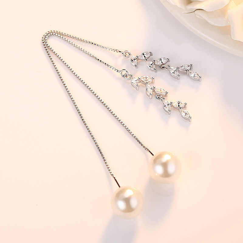 100% 925 sterling silver 2018 new design imitation pearl crystal flower ladies`long stud earrings jewelry Anti allergy cheap