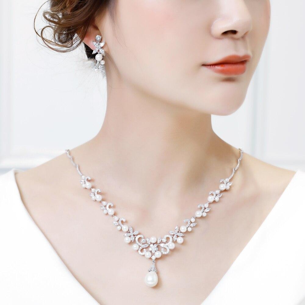 Ensembles de Bijoux de mariée de mode collier pendentif perles simulées AAA zircon cubique fleur boucles d'oreilles femmes Bijoux cadeaux - 6