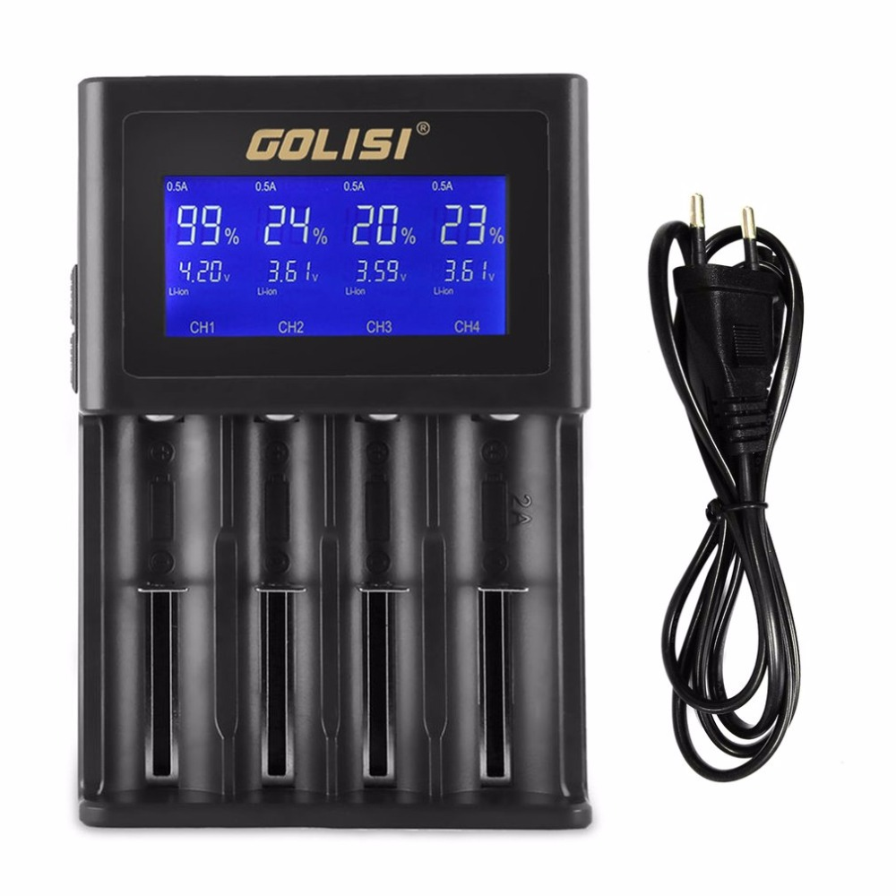 GOLISI S4 4 Slots 2A Smart LCD Battery Charger Charging for Li-ion 18650 26650 AA & AAA Ni-MH Ni-cd Rechargeable Batteries