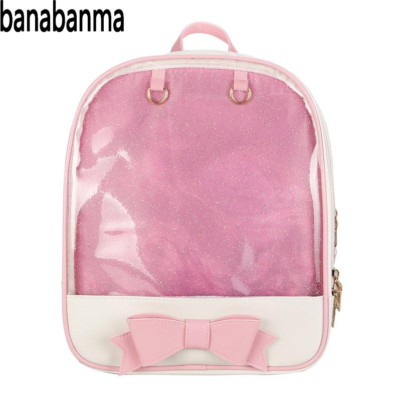 Banabanma Women Backpack Girl Double Shoulder Bag Bowknot Knapsack Fashion Transparent Backpack Unique Bags For Women 2018 ZK30