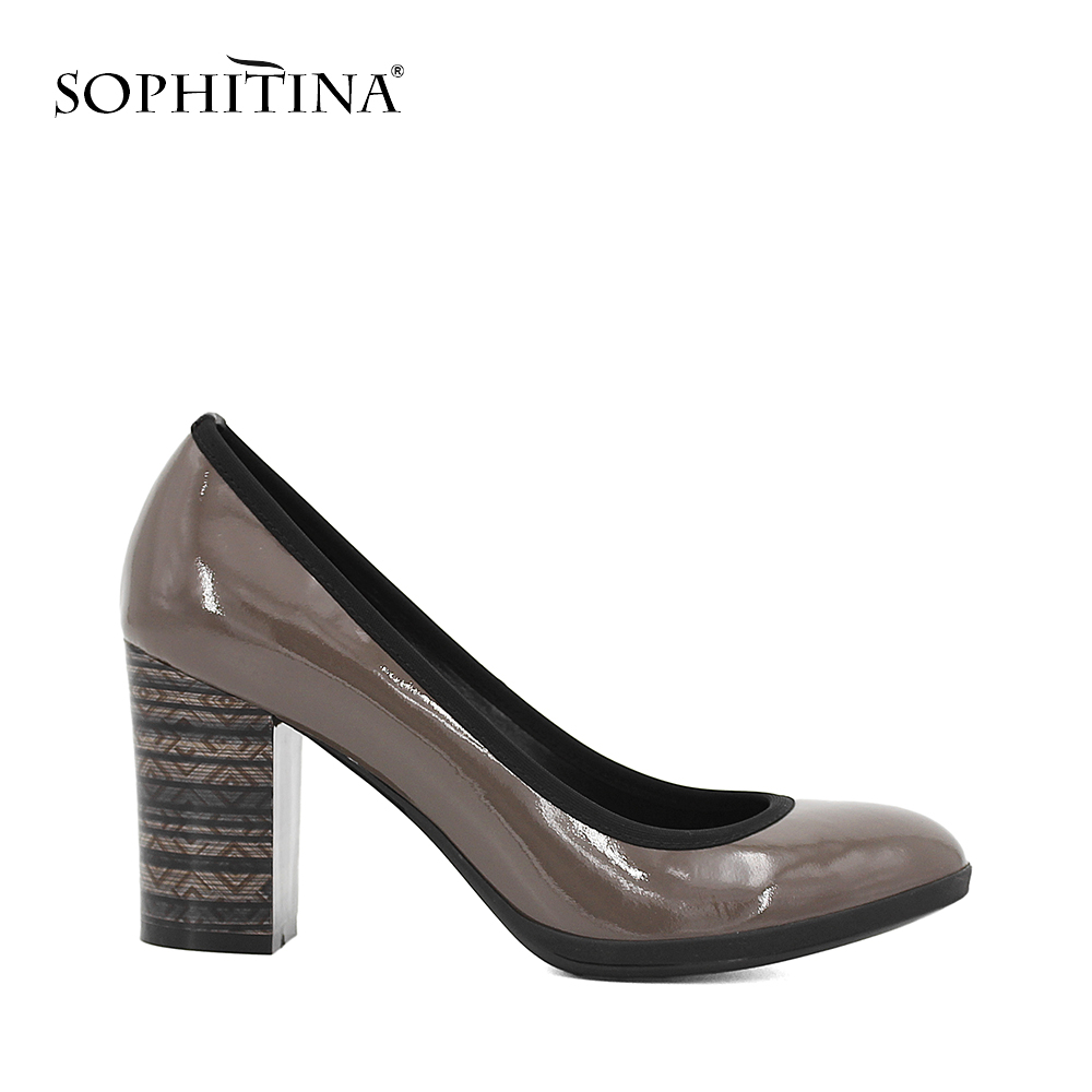 SOPHITINA Genuine Leather Black shoes woman Cow Patent Leather sheepskin Thick heels pumps high heel office Career lady shoes D1 bacia women shoes black patent leather ladies high heels shoes with bowknot thick heel pumps genuine leather lady shoes sb075