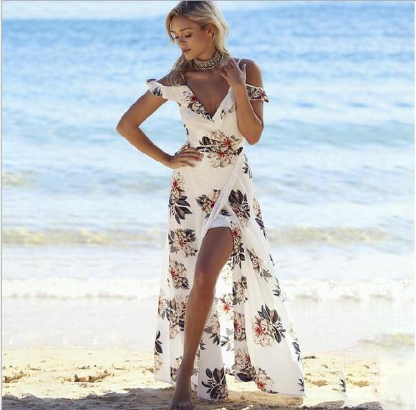 Floral print ruffles long dress Women strap v neck split beach summer Dresses Off the shoulder vestidos 2