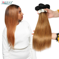 Ienvy 1B 30 Brazilian Hair Weave Bundles Pre Colored Ombre 100% Human Hair Single Bundles Honey Blonde Straight Bundles Nonremy