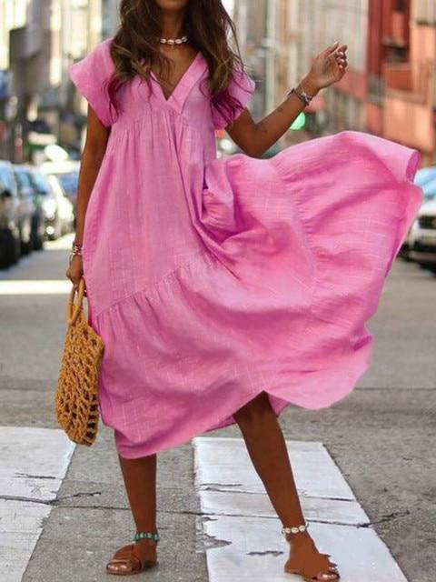 WEPBEL Women Dress V Neck Irregular Solid Color Short Sleeve Summer Casual Beach Loose Plus Size Long Ladies Dresses 6