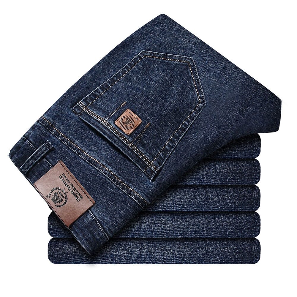 ICPANS Thicken Denim Jeans Mens Clothing Cotton Stretch Straight Mens Jeans Pants Smart Casual
