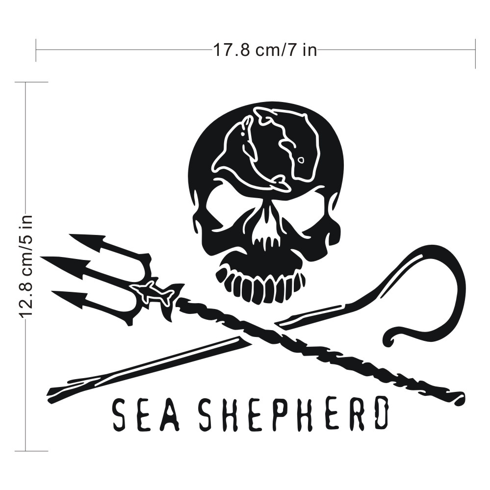 Skull Car Sticker Sea Shepherd Car Bumper Stickers Decals Styling Decoration Door Body Wall Home Glass Window Vinyl Stickers
