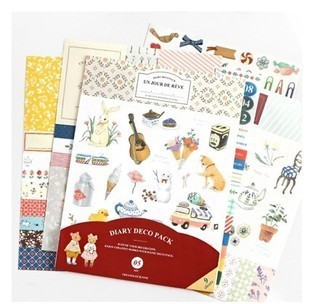9 sheets diary deco sticker pack include animal & flower & numbers & label & dot & lace