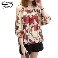 New Elegant Fashion Plus Size Casual Loose Women Blouse Strained Floral Printed Strapless Chiffon Shirt Top