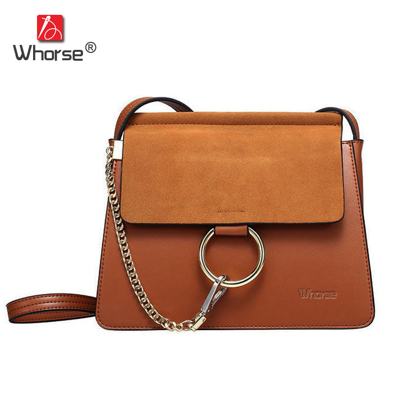 Brand Thin Flap Design Genuine Leather Messenger Bag Chain Women Scrub Cowhide Shoulder Crossbody Bags With Metal Ring W07500 2017 summer metal ring women s messenger bags solid scrub leather women shoulder bag small flap bag casual girl crossbody bags