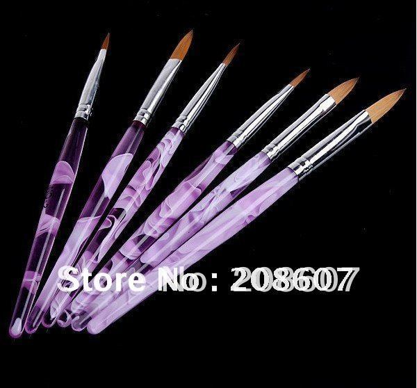 Freeshipping 6pcs/set Acrylic Nail Art Color Brushes Pen Nail Brushes Cuticle Pusher 100% Pure Kolinsky Hot Sale Wholesale