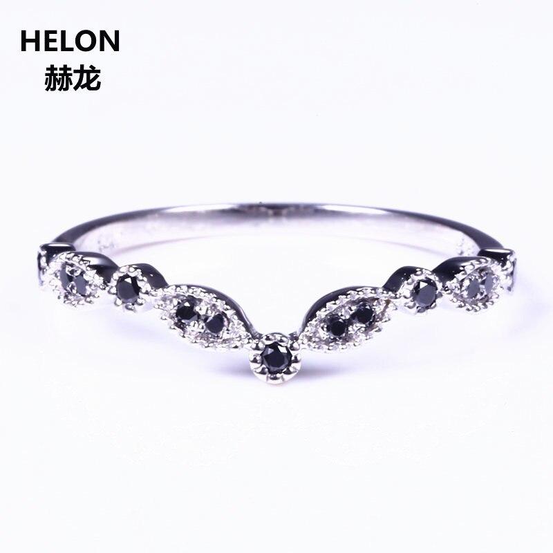 Sólido 14k oro blanco diamantes negros naturales anillo de compromiso aniversario boda banda fiesta joyería fina mujeres anillo de moda-in Anillos from Joyería y accesorios    1