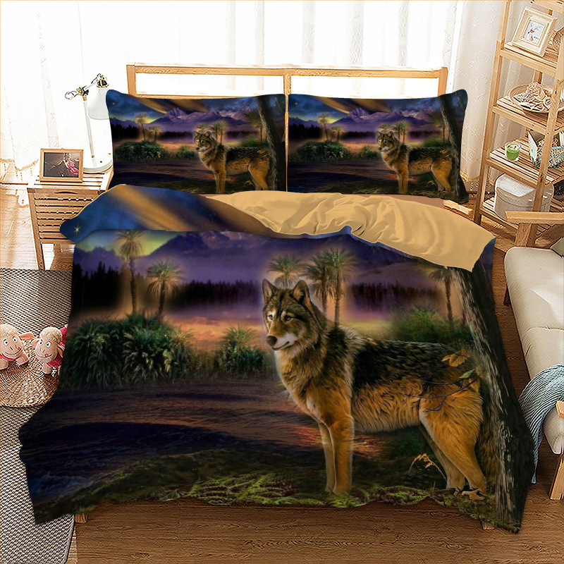Wolf Printed Bedding Set Duvet Cover with Pillow case Twin//Queen//King Size ##