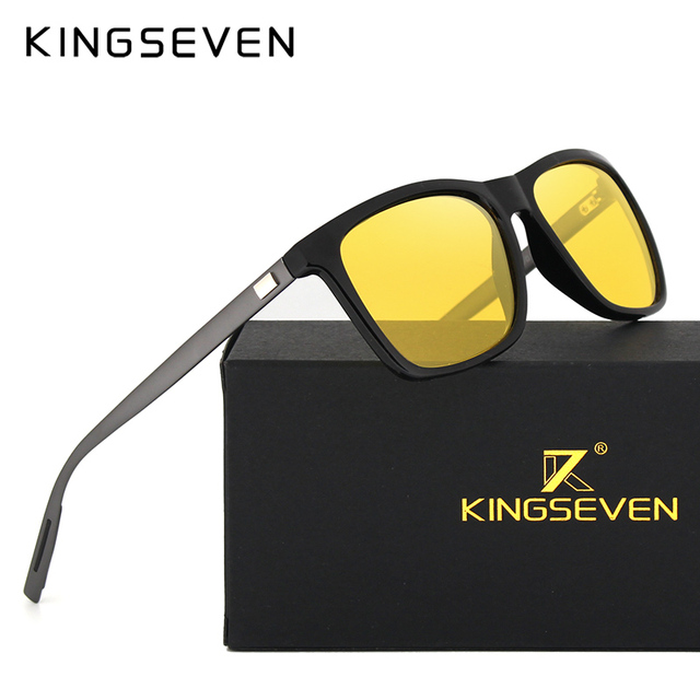KINGSEVEN Polarized Men Women Night vision Sunglasses Yellow Lens Vintage Square Male Female  Sun Glasses High quality
