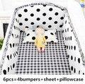 6PCS schwarz dot Baby Bettwäsche sets  bettwäsche  babybett Bettwäsche Sets Verkauf tour de lit bébé (4 stoßfänger + blatt + kissen abdeckung)|Bettwäsche-Sets|Mutter und Kind -