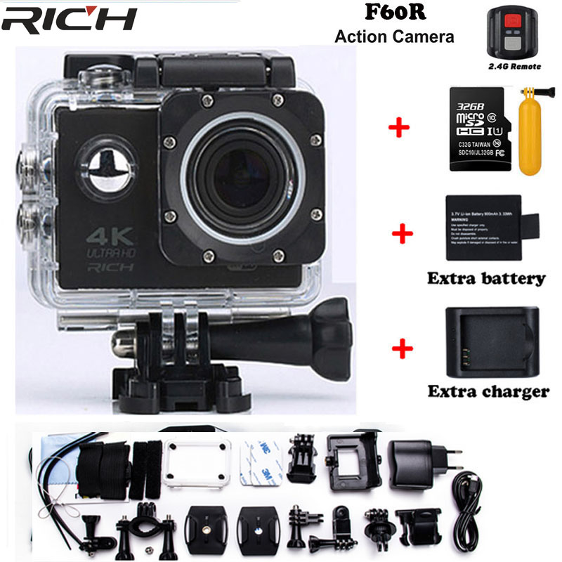 Upgraded version F60 / F60R go pro style Ultra HD 4k Action Camera Wifi 2.0 screen 170 Wide Lens waterproof Action cam action camera h3 4k ultra hd wifi 1080p go sj pro style with h3r remote control waterproof dual screen sport camera