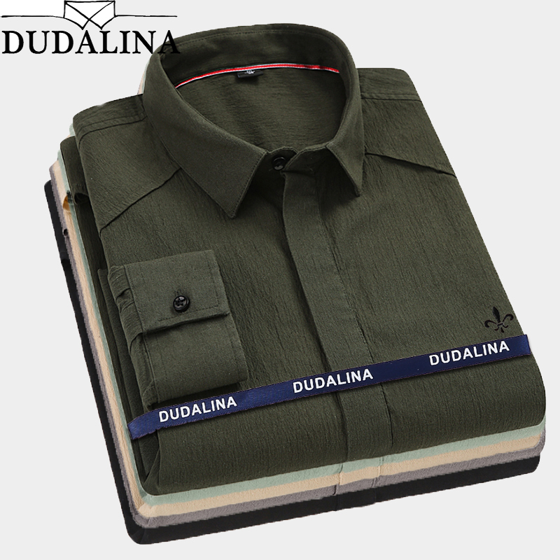 Dudalina 2019 Male Bamboo Fiber Men Shirts Male Long Sleeved Solid Slim Fit  Casual Shirt Men's Social Business